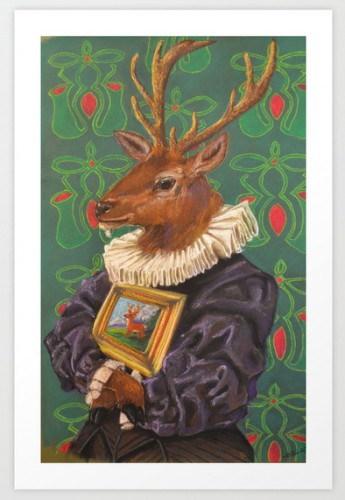 A deer in Dutch lace ruff and puffy sleeves holding a painting of a deer
