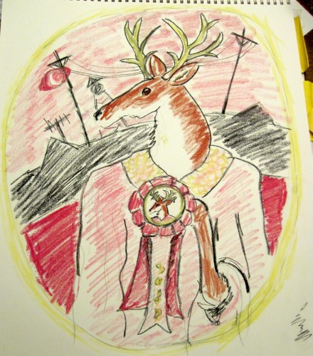 Sketch of a deer holding an award ribbon against the Welcome to Night Vale logo background